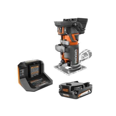 RIDGID - 18V OCTANE Brushless Cordless Compact Fixed Base Router Kit w/ Bit, Bases, 18V Lithium-Ion 2.0 Ah Battery, and Charger