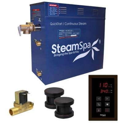 Oasis 10.5kW QuickStart Steam Bath Generator Package with Built-In Auto Drain in Polished Oil Rubbed Bronze