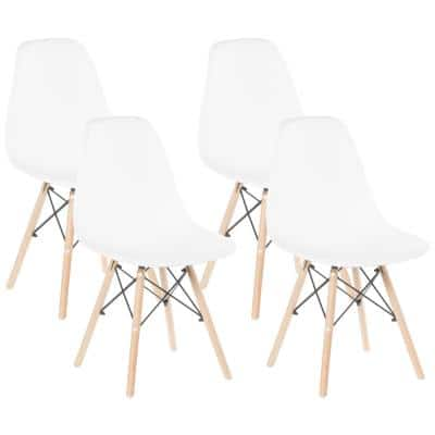 Mid-Century Modern White Style Plastic DSW Shell Dining Chair with Solid Beech Wooden Dowel Eiffel Legs (Set of 4)