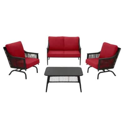 Bayhurst 4-Piece Black Wicker Outdoor Patio Conversation Seating Set with CushionGuard Chili Red Cushions