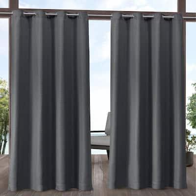 Aztec Charcoal Grey 54 in. W x 96 in. L Grommet Top, Indoor/Outdoor Curtain Panel (Set of 2)