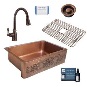 Ganku All-in-One Farmhouse Solid Copper 33 in. Single Bowl Kitchen Sink with Pfister Faucet and Disposal Drain in Bronze