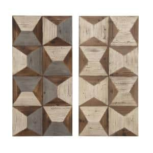 19 in. x 40 in. Two Assorted Brown Wooden Geometric Wall Panel