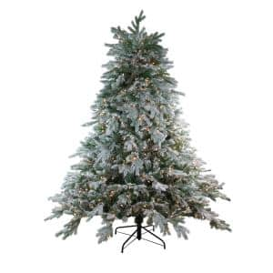 7.5 ft. x 70 in. Pre-Lit Frosted Butte Fir Artificial Christmas Tree - Clear Lights