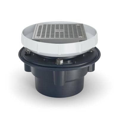 6 in. Square Featuring Stainless Steel Strainer and PVC Body with 4 in. Solvent Weld Connection Floor Drain