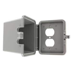 1-Gang Raintight While-In-Use Duplex Outlet Device Mount Horizontal Cover with Extra Deep Lid, Gray