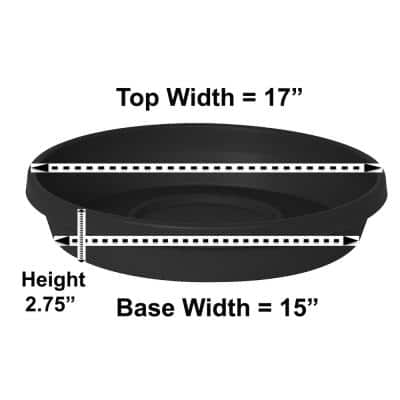 Terra 17 in. Black Plastic Plant Saucer Tray
