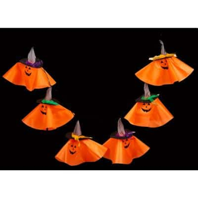 71 in. 6-Light Halloween String Lights Pumpkin Garland