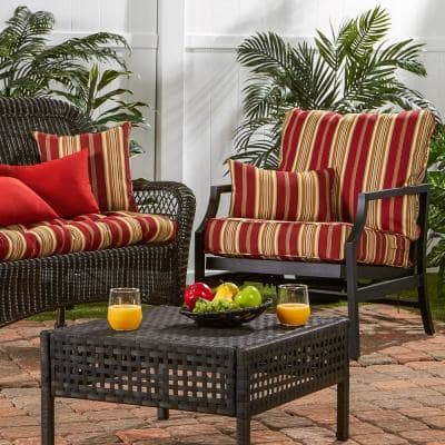 Roma Stripe 2-Piece Deep Seating Outdoor Lounge Chair Cushion Set