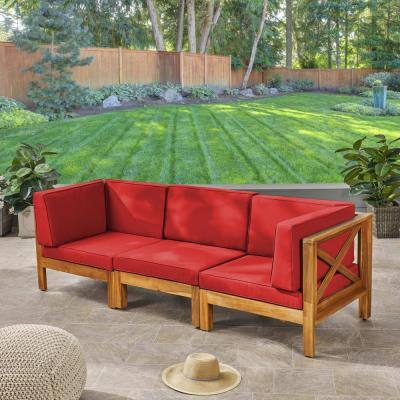 Brava Teak Brown 3-Piece Acacia Wood Outdoor Sectional with Red Cushions