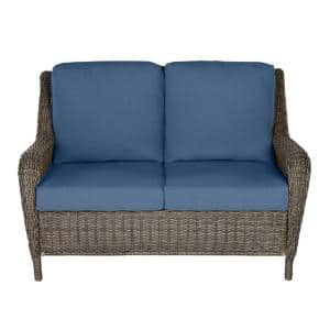 Cambridge Gray Wicker Outdoor Patio Loveseat with CushionGuard Sky Blue Cushions