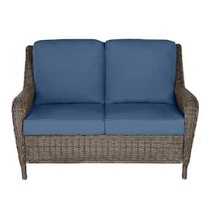 Cambridge Gray Wicker Outdoor Patio Loveseat with CushionGuard Sky Blue Cushions