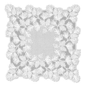 Woodland 36 in. W x 36 in. L White Floral Polyester Table Topper