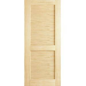 28 in. x 80 in. Louvered Solid Core Unfinished Wood Interior Door Slab
