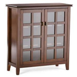 Artisan Solid Wood 38 in. Wide Russet Brown Contemporary Medium Storage Cabinet