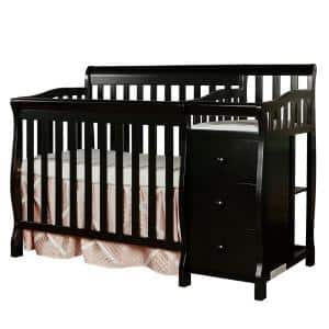 Jayden 4-in-1 Black Mini Convertible Crib And Changer
