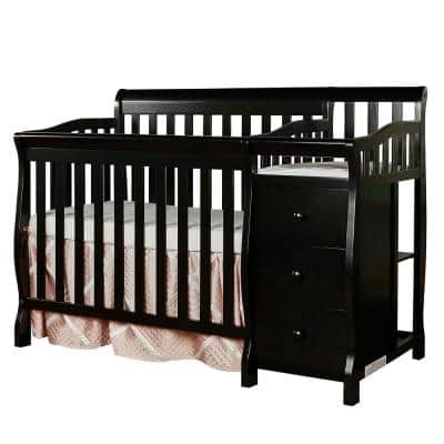 Jayden 4-in-1 Black Mini Convertible Crib And Changer