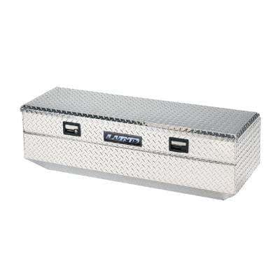 60 in Diamond Plate Aluminum Flush Mount Full Size Chest Truck Tool Box with mounting hardware and keys included, Silver