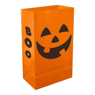 Plastic Luminaria Bags- Orange Jack O' Lantern (12 Count)