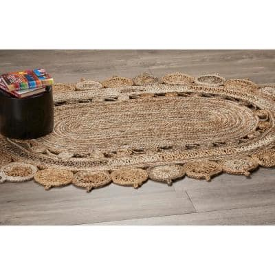 Natural Jute Bleach Gray 7 ft. x 9 ft. Oval Indoor Area Rug