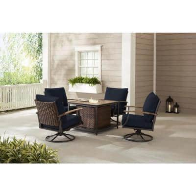Fiddler's Creek 5-Piece Brown Metal Outdoor Patio Fire Pit Seating Set with CushionGuard Midnight Navy Blue Cushions