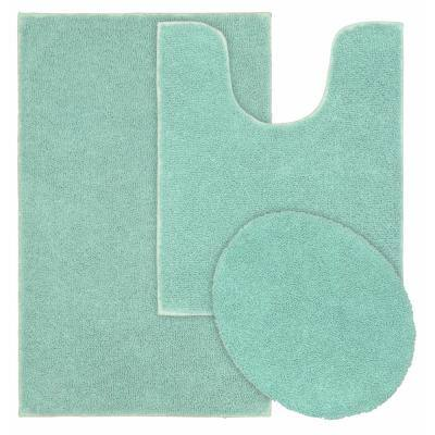 Queen Sea Foam 21 in. x 34 in. Solid Cotton 3-Piece Bath Mat Set