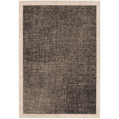 Machine Woven Sisal Classic Black-Silver 3 ft. 11 in. x 5 ft. 7 in. Solid Area Rug