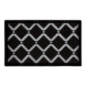 24.5 in. x 14 in. x 1.5 in. Black Metal Boot Tray with Black & Ivory Diamond Coir Insert