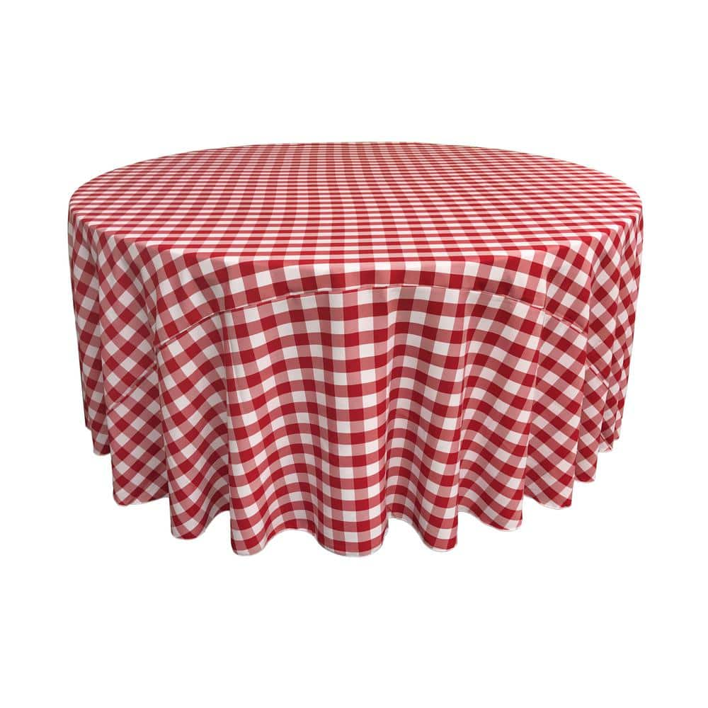 La Linen 120 In White And Red Polyester Gingham Checkered Round Tablecloth Tccheck120r Redk98 The Home Depot