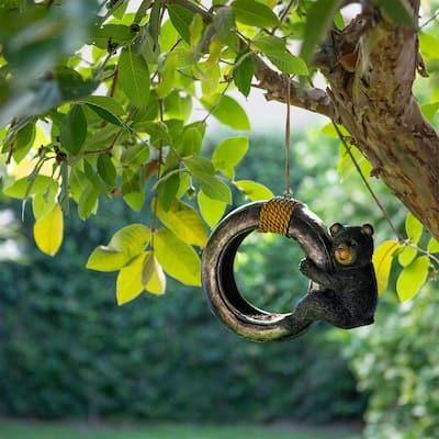 8 in. Tall Outdoor Bear Swinging On Tire Bird Feeder
