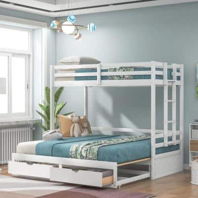 White Twin over Twin /Full/King Bunk Bed Daybed with 2-Drawers
