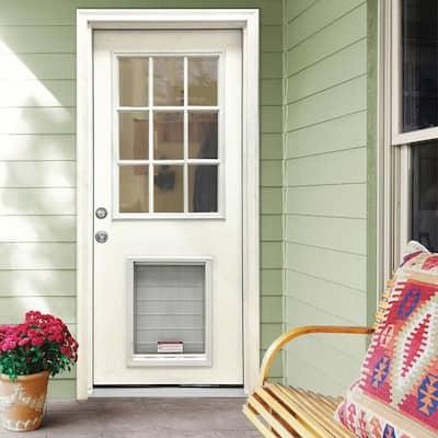 32 in. x 80 in. Classic Clear 9 Lite RHIS White Primed Fiberglass Prehung Front Door with SL Pet Door