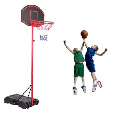 5.2 ft. to 7.2 ft. H Adjustable Steel Tube Portable Basketball Hoop with Wheels