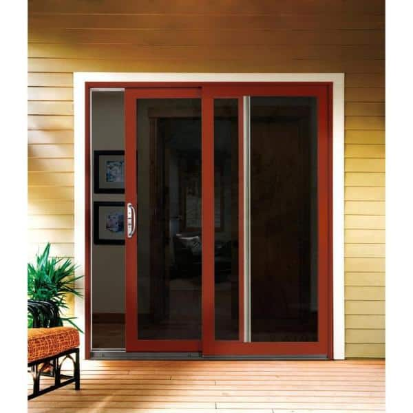 Jeld Wen 72 In X 80 In W 2500 Contemporary Brown Clad Wood Left Hand Full Lite Sliding Patio Door W Stained Interior Jw2201 01202 The Home Depot