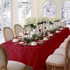 60 in. W x 84 in. L OvaL Red Barcelona Damask Fabric Tablecloth