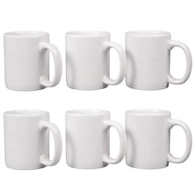 12 oz. White Stoneware Mug (Set of 6)