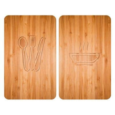 Tempered Glass Wood Print Stove Cover (2-Pack)