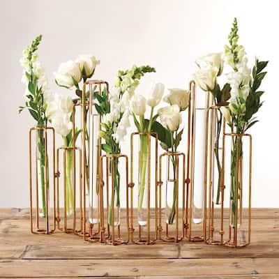 13 in. High Lavoisier Antiqued Gold Metal/Glass Hinged Flower Vases (Set of 10)