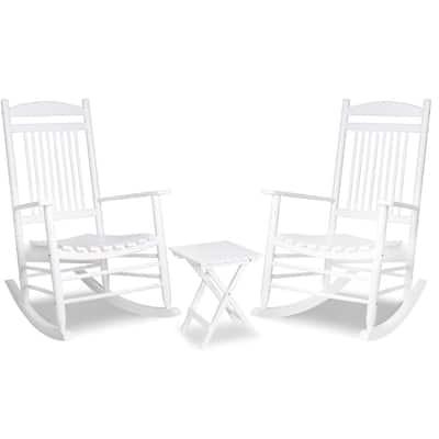 White 3-Piece Wooden Patio Outdoor Rocking Chair Set
