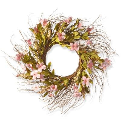 22 in. Pink Spring Wreath