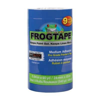 Pro Grade 0.94 in. x 60 yds. Blue Painter's Tape with PaintBlock (9-Pack)