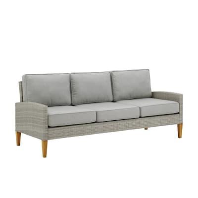 Capella Wicker Outdoor Sofa with Gray Cushions