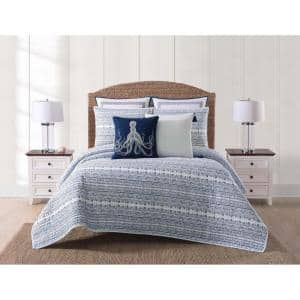 Reef 3-Piece White and Blue King Quilt Set