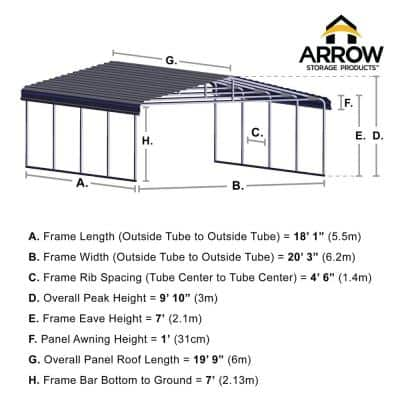 20 ft. W x 20 ft. D Charcoal Galvanized Steel Carport, Car Canopy and Shelter