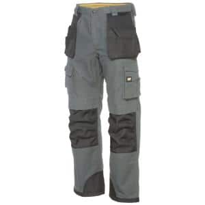 Caterpillar Trademark Men S 48 In W X 34 In L Grey Black Cotton Polyester Canvas Heavy Duty Cargo Work Pant C172x 079 48 34 The Home Depot