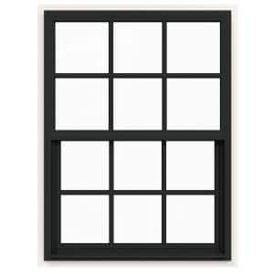 36 in. x 48 in. V-4500 Series Bronze FiniShield Single-Hung Vinyl Window with 6-Lite Colonial Grids/Grilles