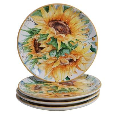 Sunflower Fields 4-Piece Seasonal Multicolored Earthenware 9 in. Salad Plate Set (Service for 4)