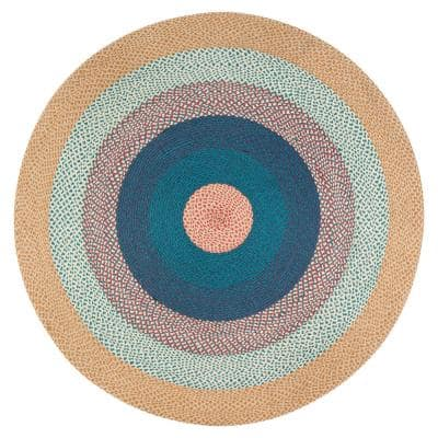 Bright Green Blue and Red Blend 8 ft. x 8 ft. Round Area Rug