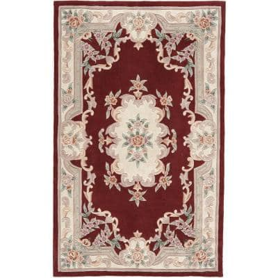 New Aubusson Burgundy Red 5 ft. x 8 ft. Wool Area Rug