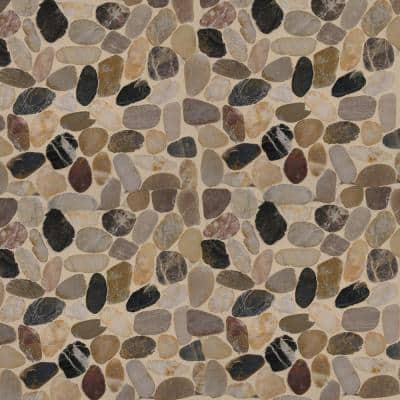 Mix River Rock 12 in. x 12 in. x 10 mm Textured Marble Mosaic Tile (1 sq. ft.)